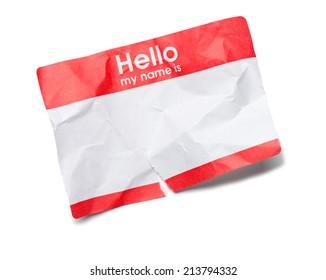 Crumpled Hello Name Tag on White