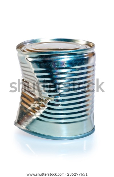 crumpled metal tin can on white background