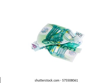 crumpled money.Isolated on white. Place for text.
