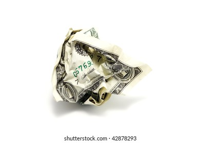 Crumpled One US Dollar isolated on white