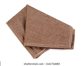 crumpled orange brown checkered napkin table clothes  on white background.