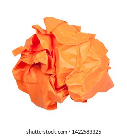 crumpled orange paper ball isolated on white background
