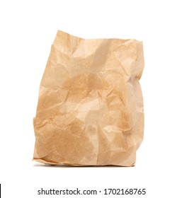 A crumpled paper bag with greasy spots highlighted on a white background.