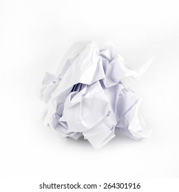 Crumpled Paper ball isolated on white background.