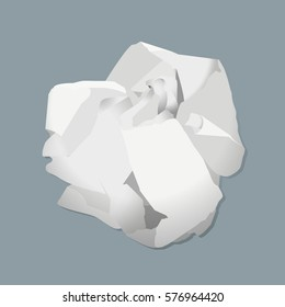 Crumpled paper ball isolated on white background. Flat  stock illustration