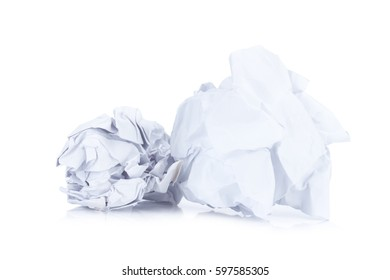 Crumpled paper ball isolated on white.
