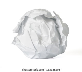 Crumpled paper ball on a white background. With clipping path