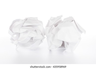 Crumpled paper ball on white background