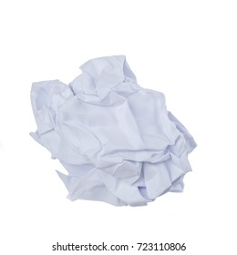 Crumpled paper ball on white background.