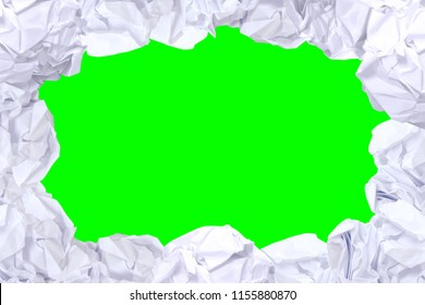 crumpled paper ball white frame on green screen color and copy space background, copy space in rough paper waste ball on green screen background, white paper ball for banner advertising footage video