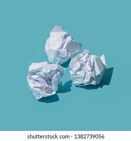 Crumpled paper balls, waste and recycling concept