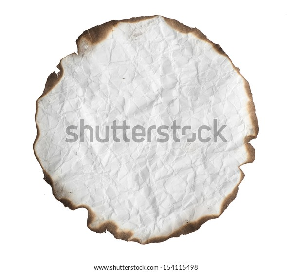 crumpled paper with burnt edges. Isolated on white background