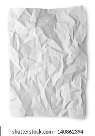 Crumpled paper isolated on white with clipping path