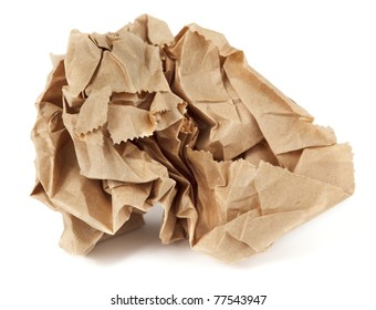 Crumpled paper lunch bag - trash
