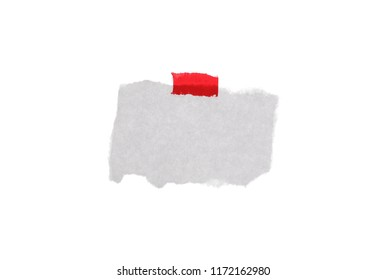 Crumpled paper with red tape isolated on white background, clipping path