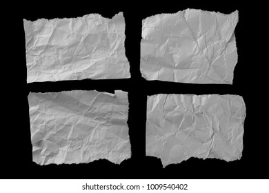 Crumpled paper scrap wrapping set, collection isolated on black background with clipping path