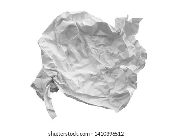 Crumpled paper texture. White crumpled paper texture for background. Crumpled paper ball isolated on white background.