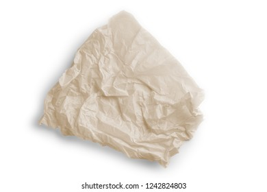 Crumpled parchment for baking isolated on white