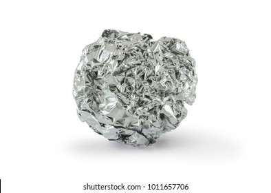 Crumpled piece of aluminum foil isolated on white