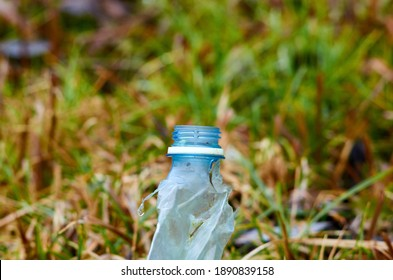 crumpled plastic bottle in the grass close up