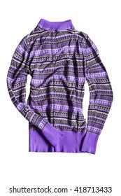 Crumpled purple sweater isolated over white