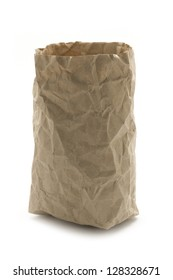 crumpled recycling paper bag isolated on white