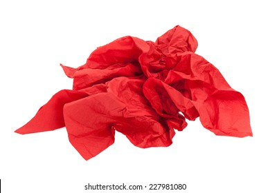 Crumpled red napkin paper isolated on white background