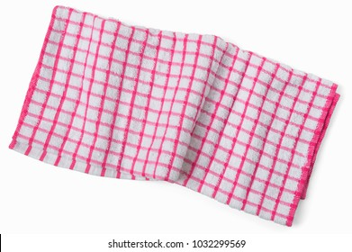 Crumpled red white checkered kitchen napkin. Sloppy towel isolated on white background, flat lay top view.
