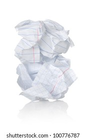 Crumpled sheet of paper isolated