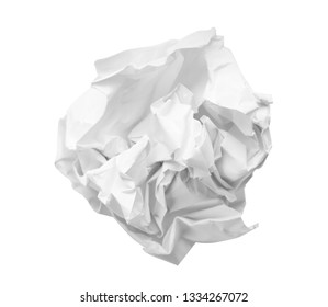 Crumpled sheet of paper on white background