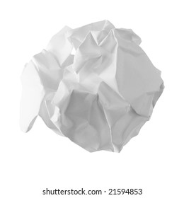 Crumpled sheet of paper on the white background