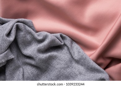Crumpled soft pink and gray fabric texture