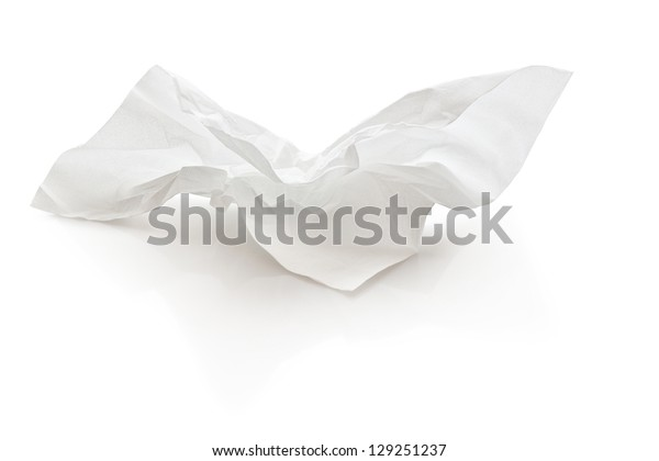 crumpled tissue paper with clipping path