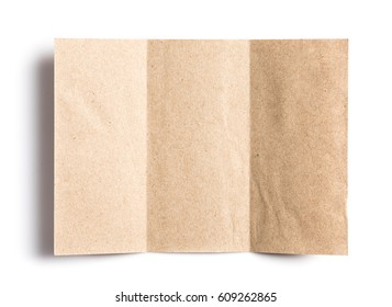 Crumpled unfolded piece of recycled paper pad on white background