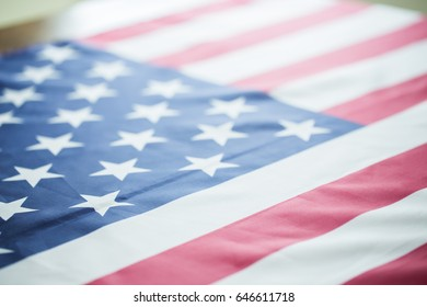 crumpled of United states of America flag; vintage color effected