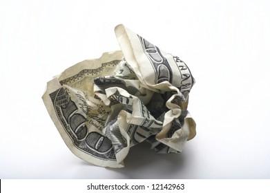 Crumpled up USA one hundred dollar bill