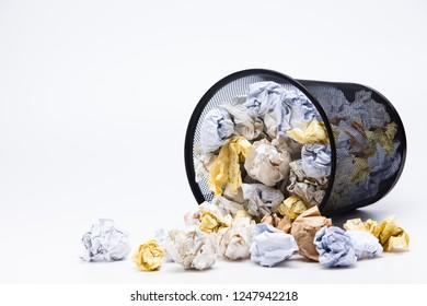 Crumpled Wastepaper basket full