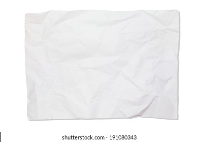 Crumpled white paper isolate on white background