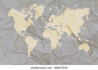 Crumpled world map paper,Golden