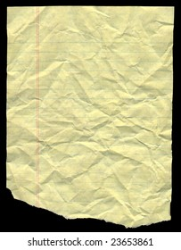 Crumpled yellow lined paper for background