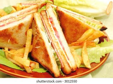 crunchy club sandwich with potatoes
