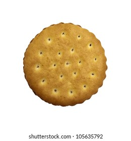 Crunchy cookie round on a white background.