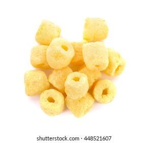 Crunchy corn snacks milk flavour on white background