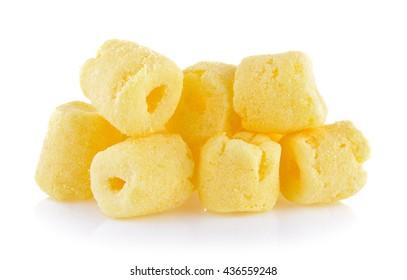 Crunchy corn snacks on a white background