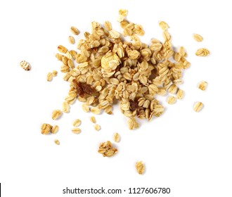 Crunchy granola, muesli pile isolated on white, top view