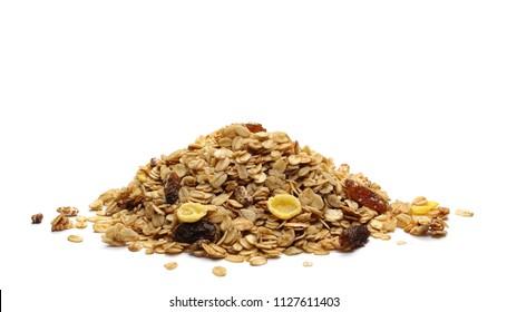 Crunchy granola, muesli pile isolated on white