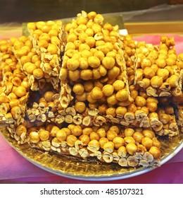 Crunchy Hazelnut Bar Sweets at Plate