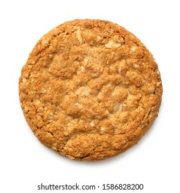 Crunchy oat and wholemeal biscuit isolated on white. Top view.