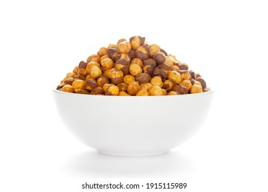 Crunchy Roasted Chana Masala in  white Ceramic bowl, made with Bengal Grams or Chickpeas. Pile of Indian spicy snacks (Namkeen), under top lighting, Front view, against the white background.