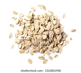 Crunchy rye grain cereal for breakfast isolated on white background, top view